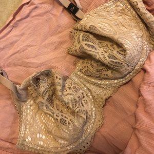 Lacy nude unlined bra